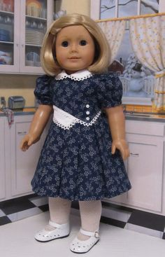 """Classic Navy &White 1930's  Frock - Clothes Made to Fit 18""""  American Girl Doll, An Original  KeeperDollyDuds Design on Etsy, Sold"""