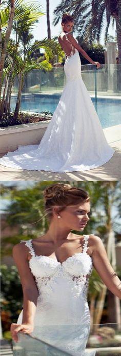 beach style sexy backless long lace wedding dress