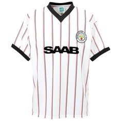 5b957bf89e6 1982 MCFC away SAAB white with red and black stripes shirt City Shorts