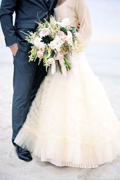"""""""I wanted to channel the giant bouquets carried by brides in the and so I asked Studio Fiore to create a really textural and 'undone' bouquet,"""" says the bride. Wedding Bells, Wedding Bride, Dress Wedding, Wedding Couples, Wedding Styles, Wedding Photos, Wedding Ideas, Wow Photo, New Look Fashion"""
