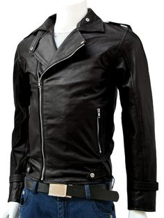 Pointed Collar Leather Black Jacket