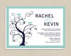 Modern Tree Wedding Invitations by onereverie on Etsy Tree Wedding Invitations, Wedding Invitation Design, Invites, Wedding Themes, Our Wedding, Four O Clock, Reception Card, Spring Wedding, Save The Date