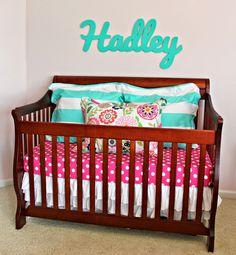 carolina on my mind: Hadley's Nursery/Big Girl Bedroom: Name Above Crib