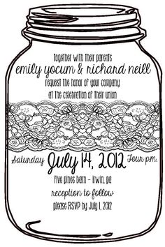 mason jar wedding invitation with lace. $2.00, via Etsy. Mason Jar Wedding Invitations, Shower Invitations, Invites, Fall Wedding, Dream Wedding, Wedding Ideas, Lace Wedding Decorations, Never Getting Married, Happily Ever After