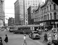 View of the intersection at Marietta and Forsyth Streets in downtown Atlanta in the 1940s.