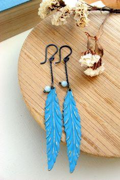 Blue Feather - Earrings - Sterling silver - Long