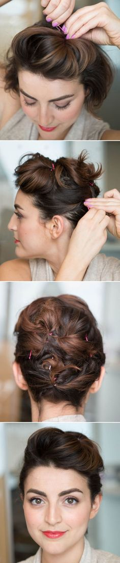 Updo for short hair. Creating a pompadour by teasing a section of hair from temple to temple, and pushing it against where you normally part your hair to increase lift. Then, grab one- to two-inch sections of hair, twist them, and lock them into place with bobby pins by inserting them into your hair, and then rotating them the opposite way to hide the pin.