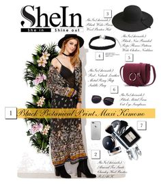 """Black Botanical Print Maxi Kimono - SheIn"" by miss-maca ❤ liked on Polyvore"