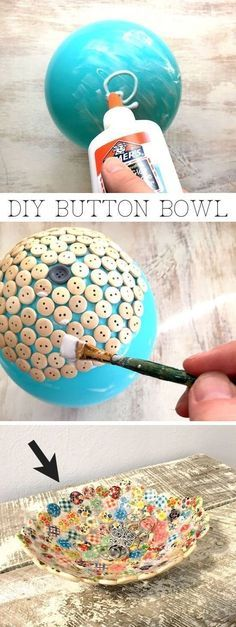 Easy and cheap craft ideas for kids and adults. I love this button bowl using just a balloon, buttons and glue! It's perfect for keys, jewelry or to sell! #EverydayArtsandCrafts