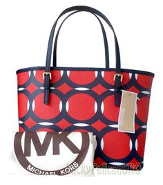 9de261638f41 Michael Kors Jet Set Saffiano Deco Mandarin Navy White Small Travel Tote Bag  NWT