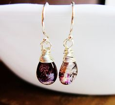Moss Amethyst Earrings Sterling Silver wire by thelittlehappygoose,