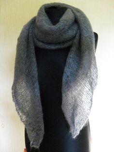 Grey extra large mohair shawl grey mohair wrap by Renavere on Etsy, $55.00