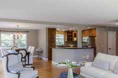 Open kitchen with large entertaining bar
