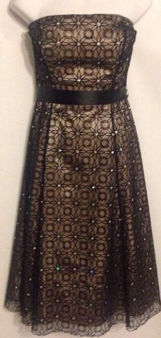 Adrianna Papell Boutique Size 6 Formal Dress Cocktail Length Black Sheer Sequins #AdriannaPapell #FormalCocktailEveningGownBallGownCorsetTieredStraples #Formal