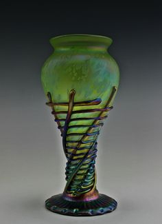 #58. Bohemian Art Glass Czech Iridescent Vase  For sale: