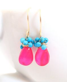 Hot Pink Chalcedony Earrings Wire Wrapped Turquoise 14k Gold Handmade Jewelry  - etsy JewelryBySonjaBlume