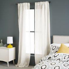 "Sheer Linen Cotton - Ivory #westelm Living Room and Bedroom Windows - 72"" long, 56"" wide  Kitchen Window - 58"" x 48"""