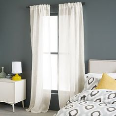 Sheer Linen Curtain - Ivory - 124""