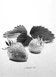 Original Food Drawing by Dietrich Moravec Graphite Art, Graphite Drawings, Charcoal Drawings, Realistic Pencil Drawings, Pencil Art Drawings, Hatch Drawing, Strawberry Drawing, Fruits Drawing, Food Drawing