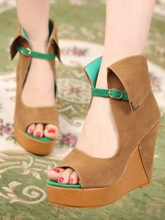 Stylish New Women Color Block Platform Wedge Shoes. Not sure why I like these but they are different and too cute