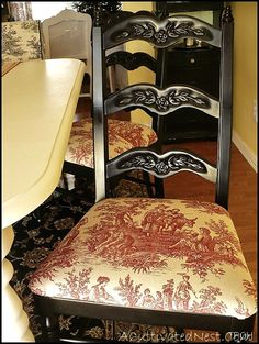 My red toile dining room chairs. I am partial to red toile. Black Dining Room Chairs, Fabric Dining Chairs, Black Chairs, Dining Rooms, French Decor, French Country Decorating, Toile Design, Toile Bedding, Bedding Sets
