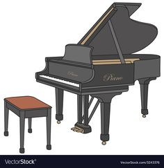 Piano vector image on VectorStock Music Notes Art, Grand Piano, Baby Cartoon, Art Portfolio, Tree Art, Vector Graphics, How To Draw Hands, Music Instruments, Clip Art