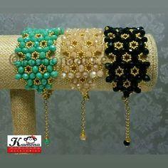 Friendship Bracelets With Beads, Woven Bracelets, Crystal Bracelets, Handmade Bracelets, Handcrafted Jewelry, Fall Jewelry, Jewelry Crafts, Beaded Jewelry, Beaded Bracelet Patterns