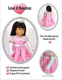Princess Anya Dress 18 inch Doll Clothes PDF Pattern Download | Pixie Faire