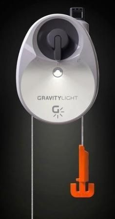 The GravityLight uses gravity, acting on a weighted bag, to generate energy.