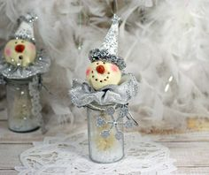 Glass Bottle Snowman Bristle Brush Tree by CottonRidgeEmporium