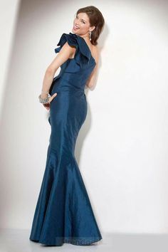 Stunning Trumpet / Mermaid One Shoulder Floor-length Taffeta Tiered Blue Evening Dresses