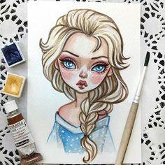 Cartoon Drawings Elsa Sold out Love Drawings, Beautiful Drawings, Colorful Drawings, Disney Drawings, Drawing Cartoon Characters, Cartoon Drawings, Arte Disney, Disney Art, Pinturas Disney