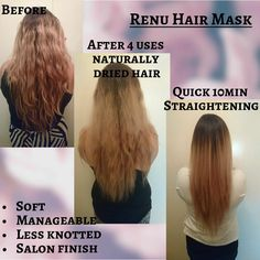 """This product is a miracle in a tub!  I have forever struggled with my hair knotting in """"Bob Marley like dreadlocks"""" therefore my hair is always tied up.   But after using the Renu Hair Mask my hair is effortlessly amazing!   No struggle to brush out, straightens in 10mins instead of 1 hour!  My hair has been feeling grassy from all the bleaching, after using the mask my hair feels healthy and so soft!   By far the best mask I have ever used❤❤"""