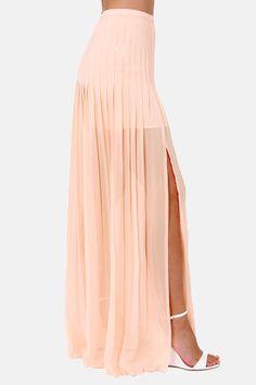 Beautiful new skirt at work...Blaque Label Pretty Parfait Peach Maxi Skirt at LuLus.com!
