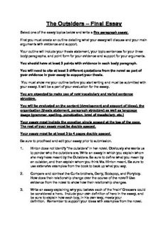 Printables The Outsiders Worksheets student the ojays and keys on pinterest outsiders summative assessment literary essay complete with task sheet rubric
