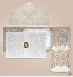 Luxury Wedding Invitations by Ceci New York - Our Muse - Look 2: Dramatic, Deco-Detailed Wedding - wedding, invitations, letterpress printing, laser-cut printing, die-cutting, foil printing