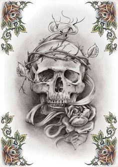 Skull Tattoos | Grim Reaper Tattoos | Deer, Sugar, Bull Skull Tattoo Art thorns roses Tattoo Flash Art ~A.R.