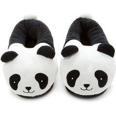 Forever21 Panda Slippers (28 BRL) ❤ liked on Polyvore featuring shoes, slippers, accessories, black and panda