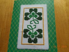 Your place to buy and sell all things handmade Celtic Cross Stitch, Cross Stitch Cards, Cross Stitching, Cross Stitch Embroidery, Cross Stitch Patterns, St Patrick's Cross, St Patricks Day Cards, Plastic Canvas Crafts, Pearler Beads