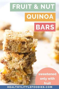 Packed with nuts, seeds and dried fruit, these quinoa bars are a great snack for all ages. Sweetened only with fruit. Quinoa Recipes For Kids, Protein Snacks For Kids, Healthy Meals For Kids, Kids Meals, Toddler Recipes, Healthy Protein, Healthy Breakfasts, Healthy Baking, Healthy Food