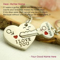 Valentine day beautiful love proposal card with proposal letter. Write your name and send proposal greeting message to your girlfriend or boyfriend and tell your feelings to his/her. Heart lock and key shape key chain and I Love You message text on this Key chain.
