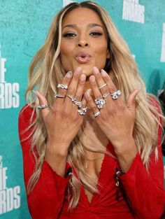 My style - lots of rings! Ciara at the 2012 MTV Movie Awards Expensive Engagement Rings, Expensive Wedding Rings, Fashion And Beauty Tips, Passion For Fashion, Ciara Ring, Beautiful Moments, Beautiful People, Ciara Photos, Celebrity Wedding Rings