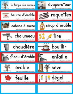 Mots étiquette Winter Activities, Kindergarten Activities, Activities For Kids, French Teaching Resources, Teaching French, Core French, French Class, Amelie Pepin, Sugar Bush
