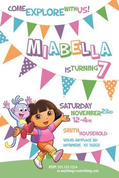 Dora The Explorer Theme - Birthday Invitation- DIY Printable Invitation - By Cici and Bobo on Etsy, $9.99