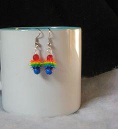 Rainbow Rubber Spike Earrings Small by DonkeyandTheUnicorn on Etsy, $3.00