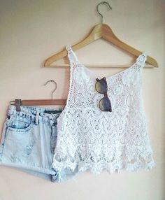 Gorgeous denim shorts with top white lace blouse and cute goggles the best summer teen fashion (great for summer at the beach or pool)