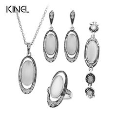 Today Sale $6.49, Buy Hot 4Pcs/Sets Vintage Wedding Jewelry Set For Women Ancient Silver Color White Opal Ring Necklace Bracelet And Earring Best Gift