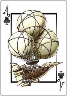 #Steampunk Playing Cards - #Kickstarter - Ace of Clubs - Aviator Airship - see the full deck here: https://www.steampunkgoggles.com/product-category/accessories/playing-cards/