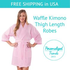 This elegant kimono styled spa robe is designed to provide the utmost in cozy comfort and style. The light and soft waffle spa robe adds a