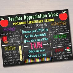 Teacher Appreciation Week Printable Staff Appreciation Schedule TidyLadyPrintables Etsy :: Your place to buy and sell all things handmade Teacher Appreciation Week, Employee Appreciation, Teacher Gifts, Teacher Treats, Teacher Stuff, All Schools, Elementary Schools, Elementary Counseling, Career Counseling